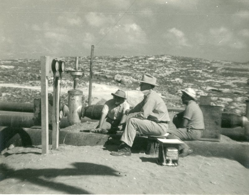 Oil field pipes under construction, ca. 1939