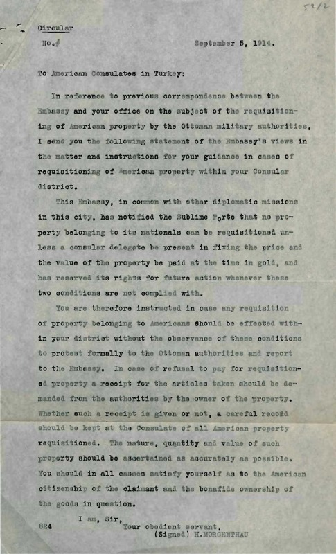 Circular on land requisitioning of foreign institutions, Sept. 5, 1914