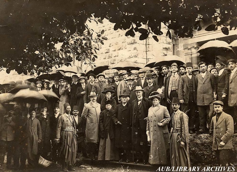 Faculty and students with visitors, 1900