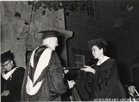 Vice President Zurayk with a graduate at Commencement 1955