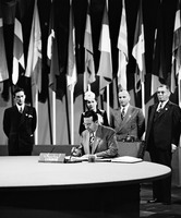 Pic 6 Mr. Joseph SALEM, member of the Delegation from Lebanon, signing the United Nations Charter at a ceremony held at the Veterans' War Memorial Building on 26 June.jpg