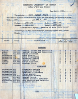 Copy of Constantine Zurayk's transcript in 1928, showing classes he enrolled in, and reflecting his initial major in mathematics.