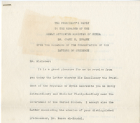 A letter by US President Harry Truman approving  Constantine Zurayk's new position, October 3, 1947