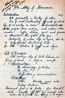 Copy of notes on course packet from Dr. Zuryak's archive, 1943: Dr. Zurayk would come back to his native city throughout his scholarly career and revisit his beloved city form a variety of angles